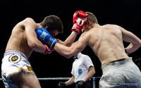 Gabriele Casella a segno con il sinistro in un match di Kick Boxing