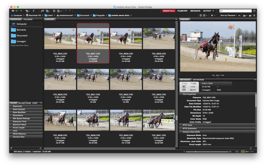 Adobe Bridge, una schermata dell'area di lavoro