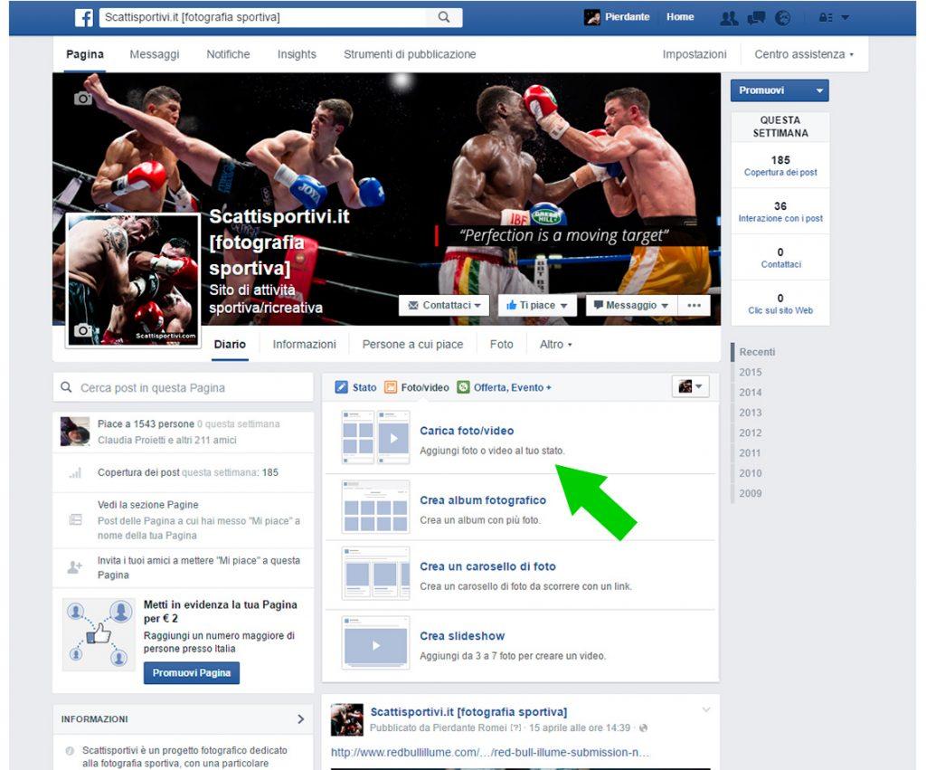 Come caricare foto su Facebook, secondo passaggio